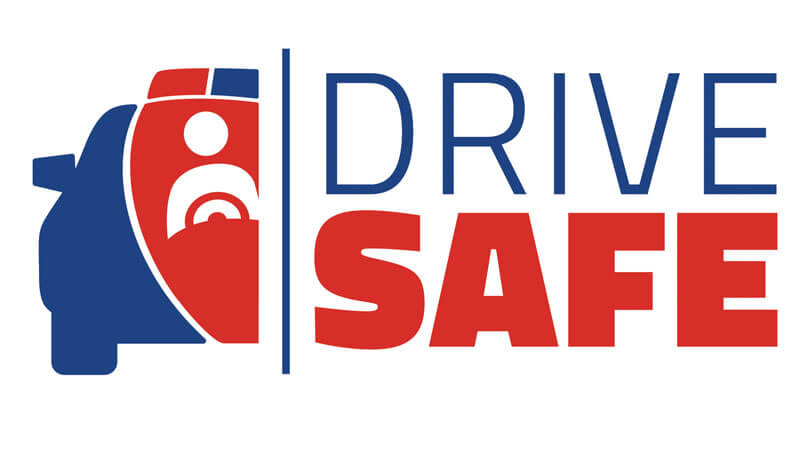 "Graphic of car and text that reads ""Drive Safe."""