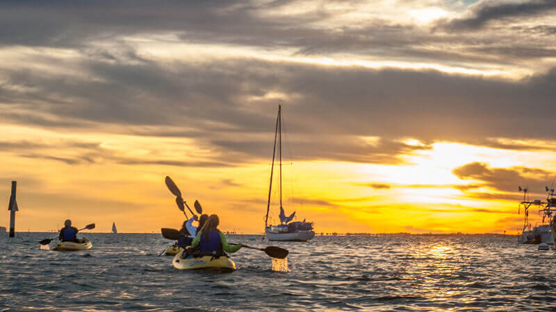 Group kayaking during sunset.