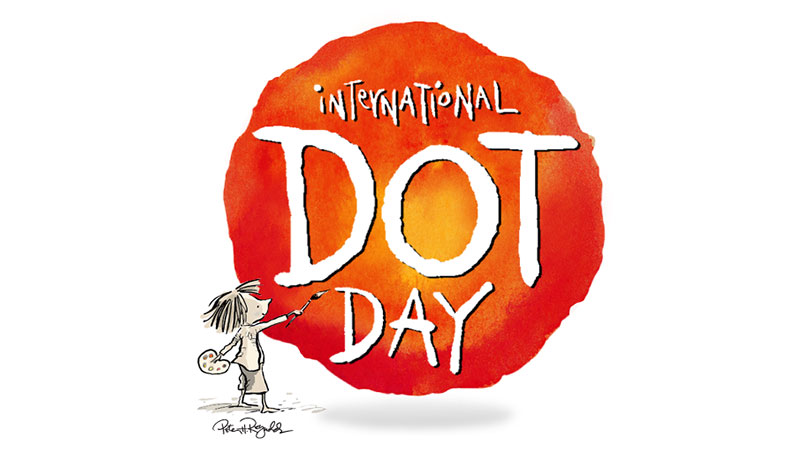 Illustration of an artist painting a large, orange round shape with the words International Dot Day.